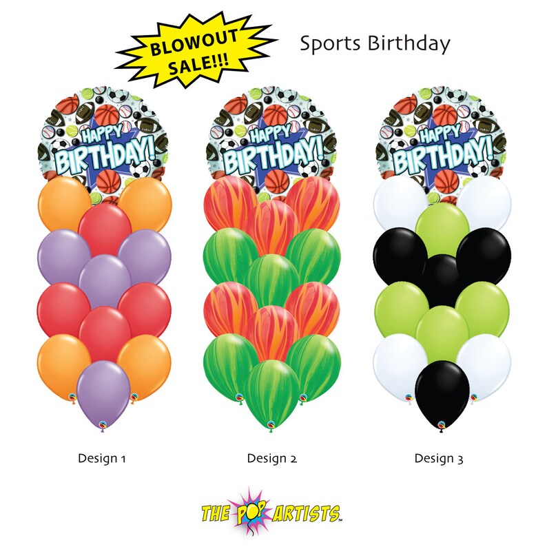 Sports Birthday Bouquet 18 Foil Balloon Mixed W 12 Latex