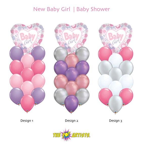 b511810e7652 Baby Girl Balloon Bouquet 18 Foil Balloon Mixed w 12