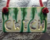 Cwtch Wales home hanging tile/Welsh pottery gift idea/wall decor