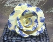 Handmade craft pottery ceramic rose, floral home sculpture, blue green white glaze, 9th anniversary gift or pottery floral gift idea