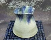 Creamer jug, heart jug gift, ceramic jug, gift for her, blue green white pottery 9th anniversary gift idea, handmade UK