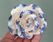 Studio pottery forever rose head fake flower sculpture totally handmade, blue white green glaze, ceramic 9th anniversary flower gift for her
