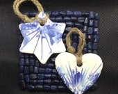 Wall hangings, craft pottery heart/star, blue white green, 9th anniversary pottery gift for the home, handmade UK