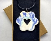 Pottery flower/heart shaped ceramic statement necklace, Mothers Day gift, blue green and white glaze, on leather/cotton cord, made in UK