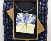 Artisan pendant necklace, square shaped pottery pendant, blue, green and white glaze, pottery gift idea for her, handmade UK