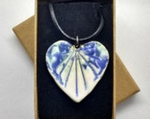 Ceramic statement necklace, pottery heart shaped gift for her, blue green and white glaze, on leather/cotton cord, handmade in UK