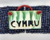 Welsh home, Cymru, hanging plaque, Wales pottery gift, wall hanging decor, on red jute, handmade in UK, FREE UK Shipping