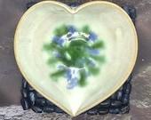 Ring dish, trinket dish, heart shaped jewellery organiser, blue green white pottery 9th anniversary gift idea, handmade UK, FREE UK Shipping
