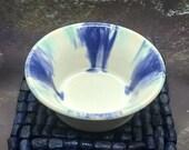 Handmade pottery candle holder, ceramic tea light pot, blue green white, 9th anniversary gift, handmade in UK, FREE UK Shipping
