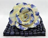 Rose ornament, craft pottery rose, ceramic flower, rose head decor, rose gift, blue white, 9th anniversary, handmade UK, FREE UK postage