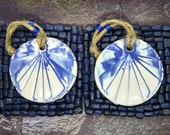 Hanging round decor, round ceramic wall hanger, blue white tile, 9th anniversary gift for the home, set of two, handmade in UK
