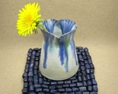 Handthrown small pottery heart vase, heart gift idea for her, blue green white pottery, 9th anniversary gift, handmade UK, Free UK shipping
