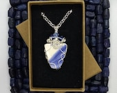 Pendant necklace, craft pottery pendant, blue white glaze with silver wire wrap, and glass beads. 9th anniversary gift for her, handmade UK