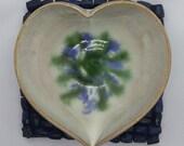 Ring dish, trinket dish, heart shaped gift for her, blue green white pottery 9th anniversary gift idea, handmade UK