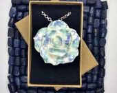 Unique pottery rose pendant floral gift, ceramic art necklace, blue green white on silver chain, cotton / leather cord, 9th anniversary gift