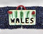 Hanging tile, craft pottery Welsh gift, handmade in UK, FREE UK shipping