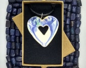 Pottery heart shaped ceramic statement necklace Mothers Day gift, blue green and white glaze on leather/cotton cord, handmade in UK