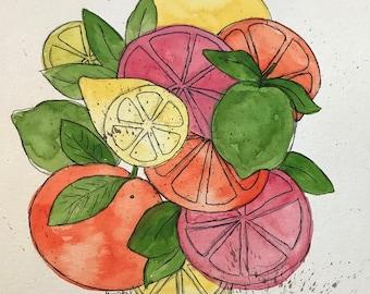 Salad of citrus, bright colors, watercolor