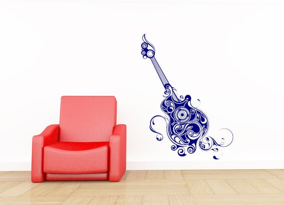 Guitar Wall Decal Acoustic Decor Music Decorations Musical
