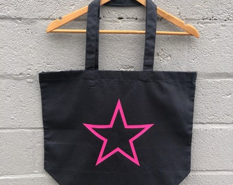 5ff399102d3 Grey tote bag with neon star - pink   orange   yellow   green shopping  beach summer bag