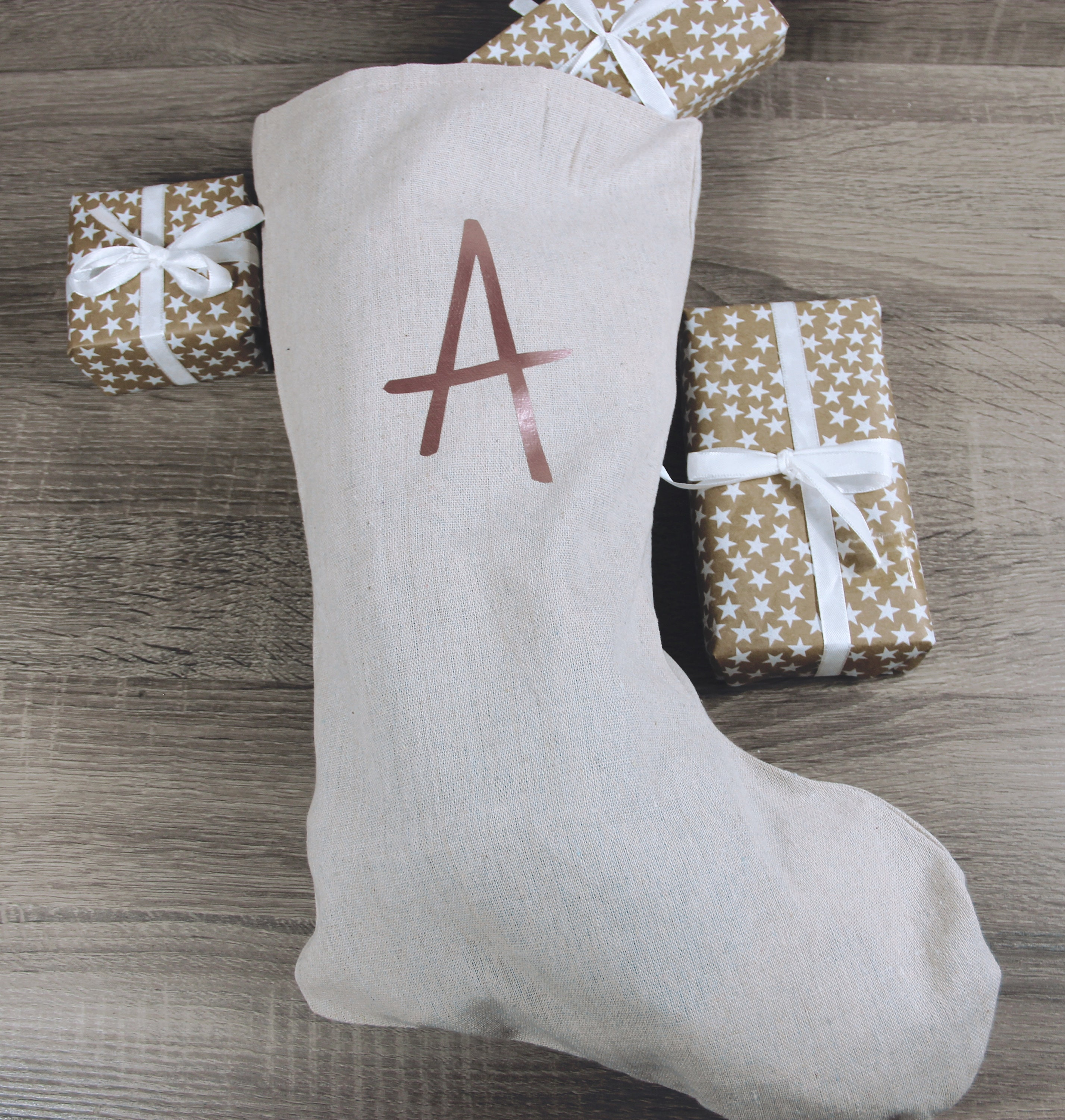 Christmas Stocking Personalised with Rose Gold Initial | Etsy