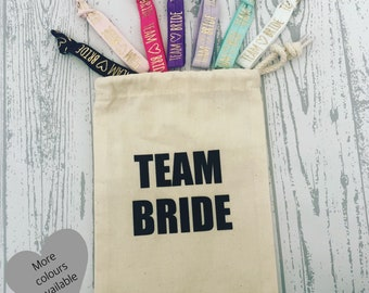 Team Bride | Bride Tribe hen party canvas drawstring favor goodie party bag - choice of colours & wording