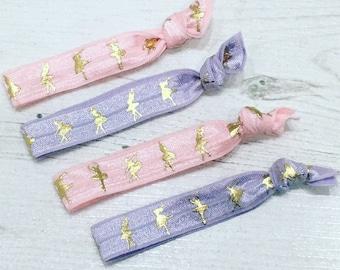 Ballet dancer themed hair ties / bracelets / pink or purple ballerinas party bag favours fillers