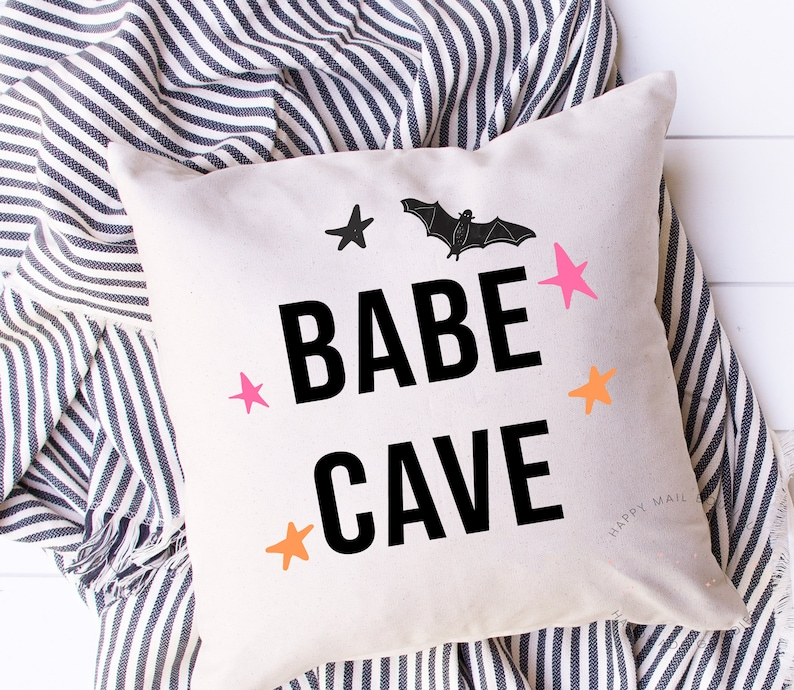 Babe Cave Pillow Halloween Decorations Pink Halloween Girly image 0