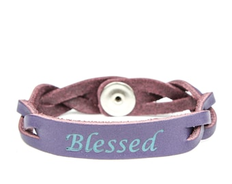 Essential Oil Leather Diffuser Bracelet Purple BLESSED