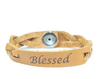 Essential Oil Leather Diffuser Bracelet BLESSED
