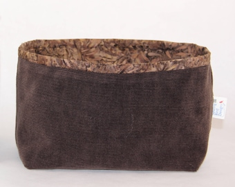 Upcycled Lined Brown Corduroy Organizer