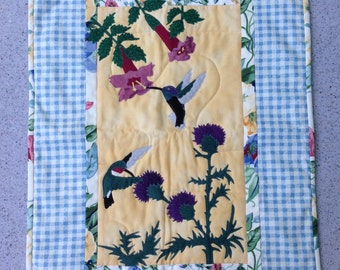 Hummingbird and Thistle Wall Quilt