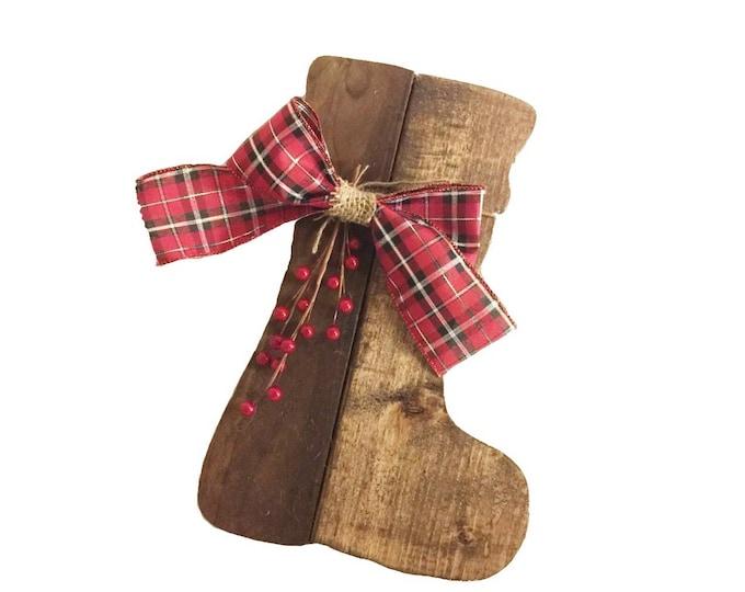 Wooden Christmas Stocking Sign, Reclaimed Wood, Handmade, Christmas