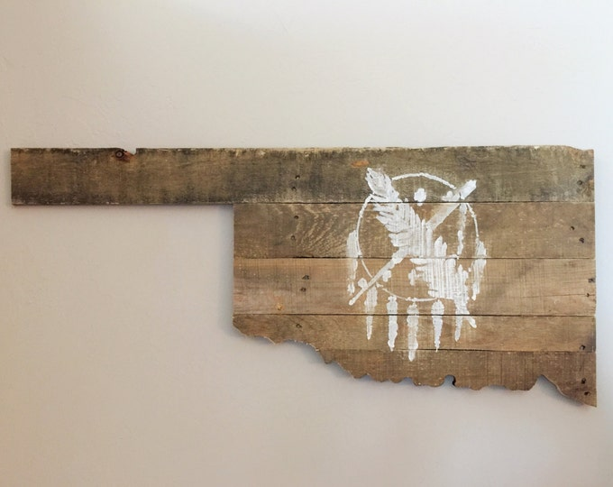 Oklahoma State Insignia Reclaimed Wood Sign