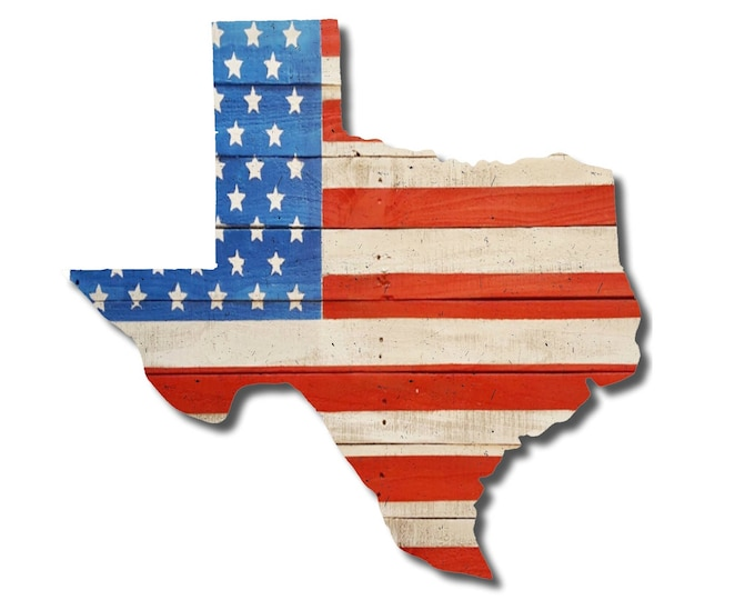 Texas State American Flag Sign, Reclaimed Wood