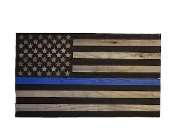 Wooden Police Blue Stripe Flag, American Flag, Reclaimed Wood, Handmade, Rustic Wooden American Flag, Blue Stripe Flag