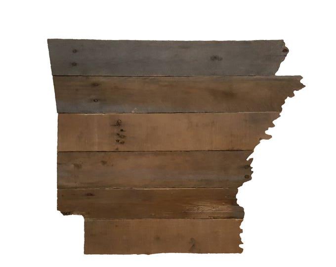 Wooden Arkansas State Sign, Reclaimed Wood, Handmade, Arkansas Decor