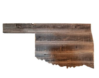 Wooden Oklahoma State Sign, Reclaimed Wood, Handmade