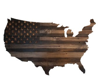 USA Chiseled & Carved American Flag, Hand Carved, Chiseled Stars, Rustic Wooden American Flag