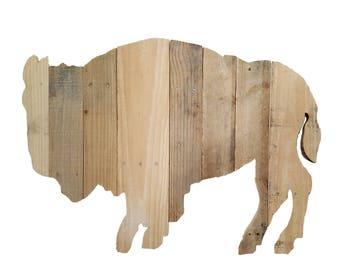 Buffalo Bison, Bison Sign, Reclaimed Wood