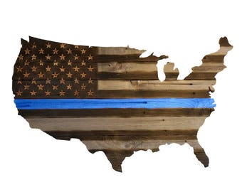 USA Chiseled & Carved Police Flag, Hand Carved, Chiseled Stars, Wooden Blue Stripe Flag, Police Flag, Handmade, Reclaimed Wood