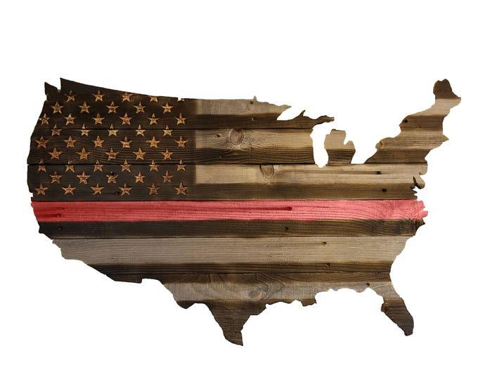 USA Chiseled & Carved Firefighter Flag, Hand Carved, Chiseled Stars, Wooden Red Stripe Flag, Firefighter Flag, Handmade, Reclaimed Wood