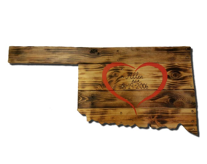 Wooden Oklahoma State Sign, Reclaimed Wood, Handmade, Lovers Lane