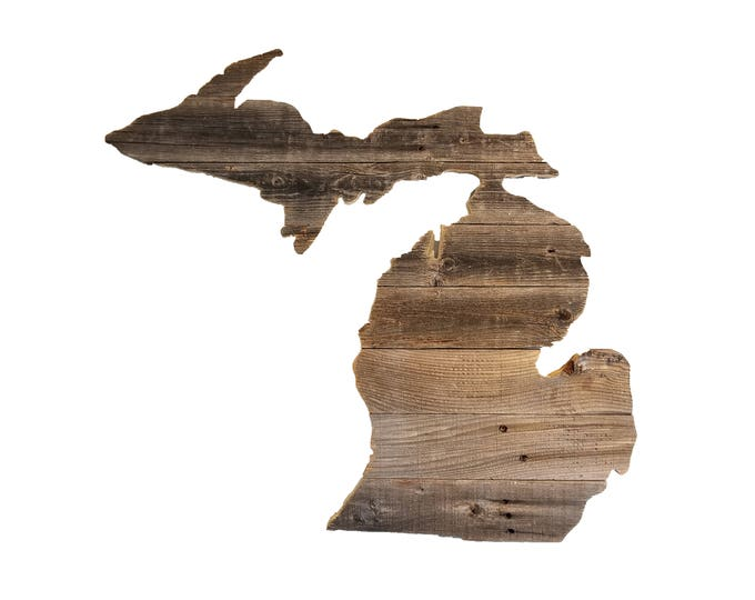 Wooden Michigan State Sign, Reclaimed Wood, Handmade
