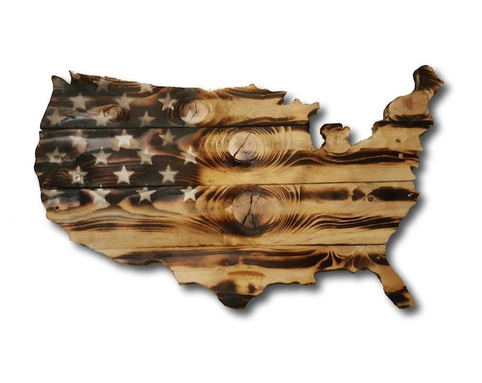 Wooden USA Burnt Flag, Rustic Wooden American Flag, Reclaimed Wood, Handmade, Wooden Flag