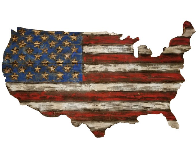 Wooden USA Flag Burned, Hand Carved, Chiseled Stars, Rustic Wooden American Flag