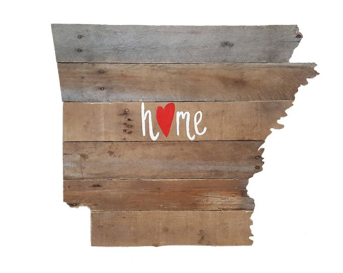 """Arkansas State """"Home"""" Sign, Wooden Decor, Reclaimed Wood, State Sign"""
