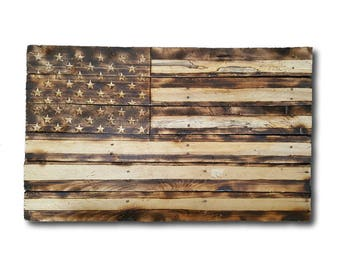 American Flag Chiseled & Carved, Hand Carved, Chiseled Stars, Rustic Wooden American Flag