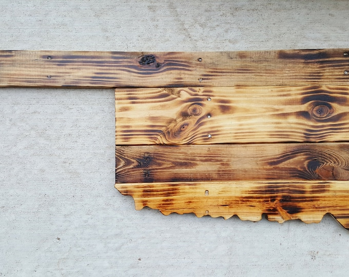 Wooden Burnt Oklahoma State Sign, Burnt Wood, Reclaimed Wood