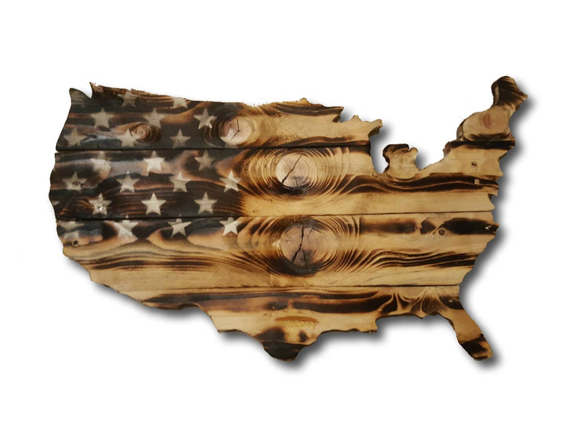Wooden USA Burnt Flag Rustic American Reclaimed Wood Handmade